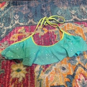 Teal and Lime Green Sequin Bikini Top Mermaid
